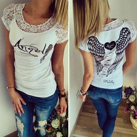 Dámske tričko Angel - biele