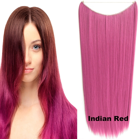 Flip in vlasy - 60 cm dlhý pás vlasov - odtieň Indian Red