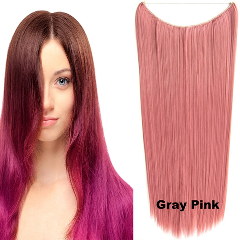 Flip in vlasy - 60 cm dlhý pás vlasov - odtieň Gray Pink