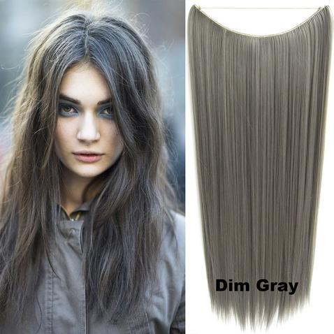 Flip in vlasy - 60 cm dlhý pás vlasov - odtieň Dim Gray
