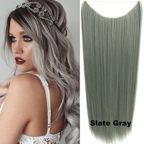 Flip in vlasy - 60 cm dlhý pás vlasov - odtieň Slate Gray