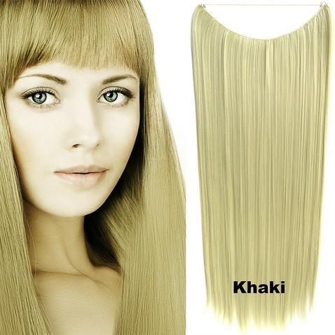 Flip in vlasy - 60 cm dlhý pás vlasov - odtieň Khaki