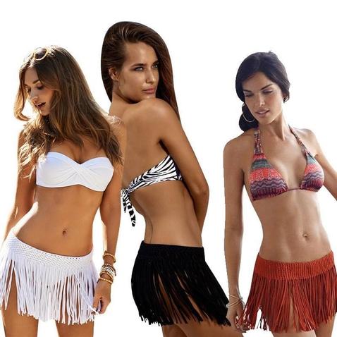 Dámska plážová minisukňa so strapcami - Boho Style