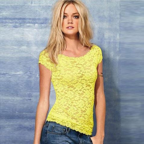 Dámsky čipkovaný top - tričko - žlté