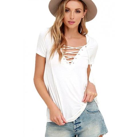 Dámske tričko s výstrihom Criss Cross - biele