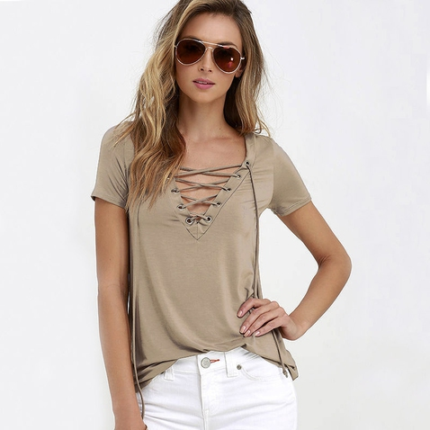Dámske tričko s výstrihom Criss Cross - béžovej farbe