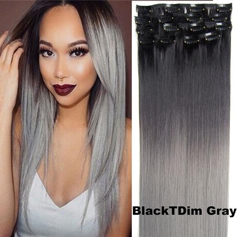 Clip in sada OMBRE - odtieň Black T Dim Gray
