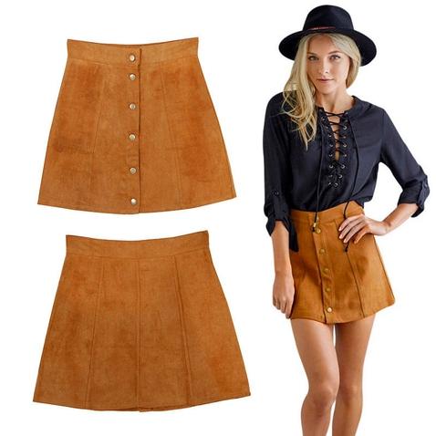 Dámska Vintage sukňa - imitácia brúsenej kože