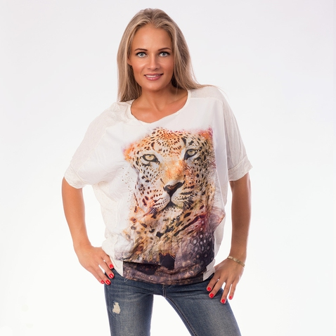 Krémová ležérne blúzka s tigrom