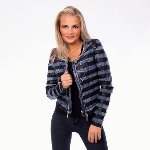 Dámska jeans bunda s imitáciou kože