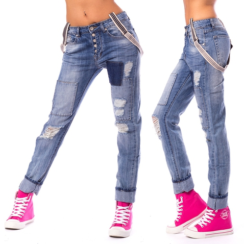 Dámske trhané jeans s traky