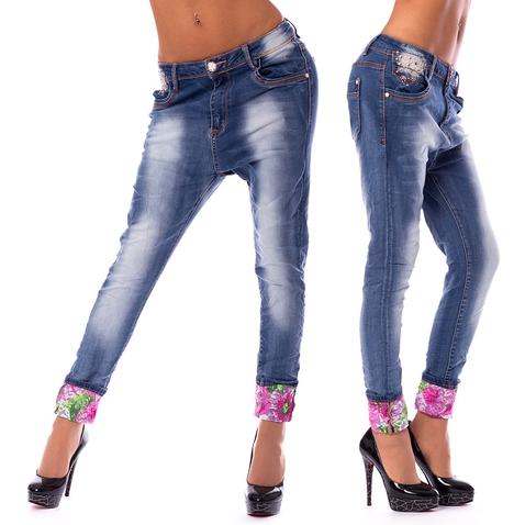 Dámske háremové jeans a kvetinovú manžetou