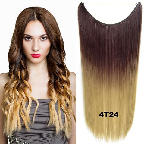 Flip in vlasy - 55 cm dlhý pás vlasov - odtieň 4 T 24
