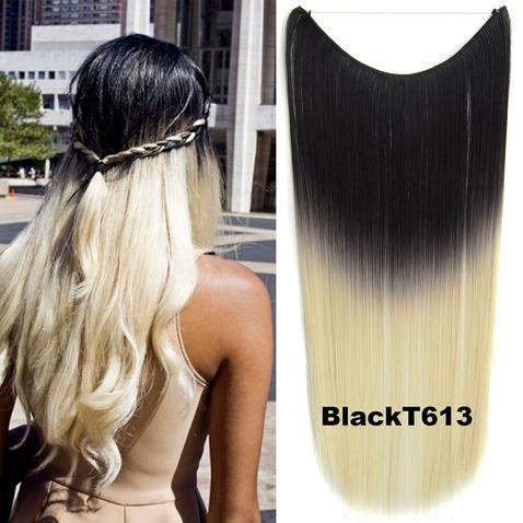 Flip in vlasy - 55 cm dlhý pás vlasov - odtieň Black T 613