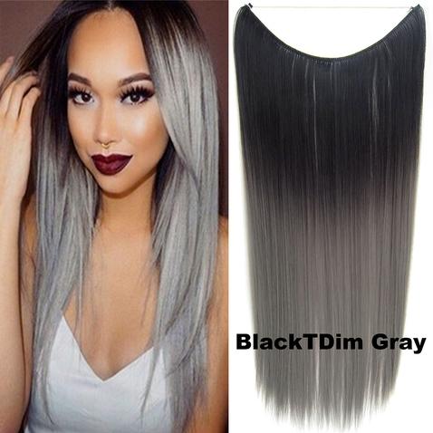 Flip in vlasy - 55 cm dlhý pás vlasov - odtieň Black T GrayDim