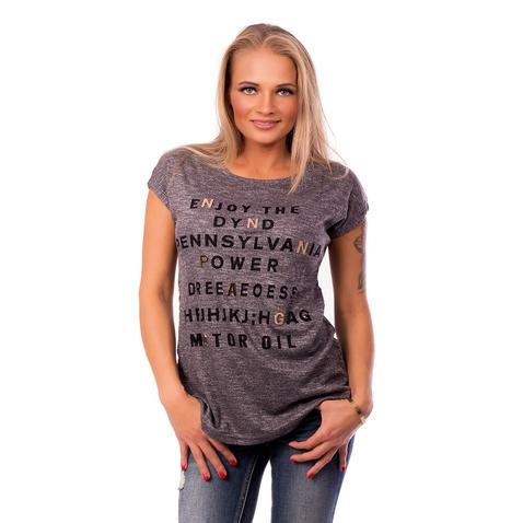 Dámske tričko s módnou aplikáciou METALLIC LETTER - tmavo šedé