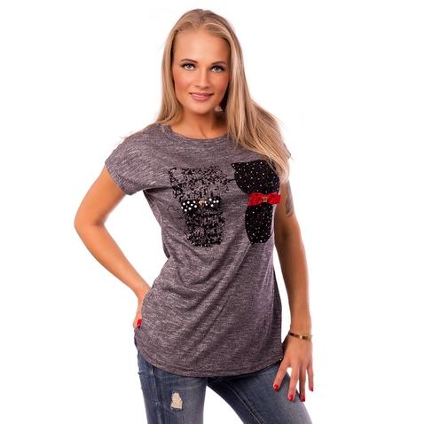 Dámske tričko s aplikáciou mačiek - tmavo šedé