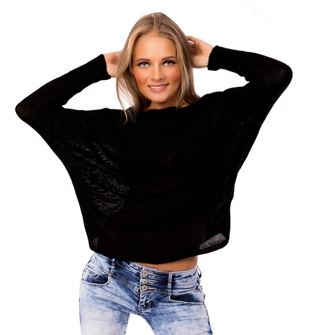 Dámsky čierny svetrík s mašličkou na chrbte