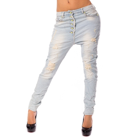 Dámske svetlé jeans baggy s trhaním