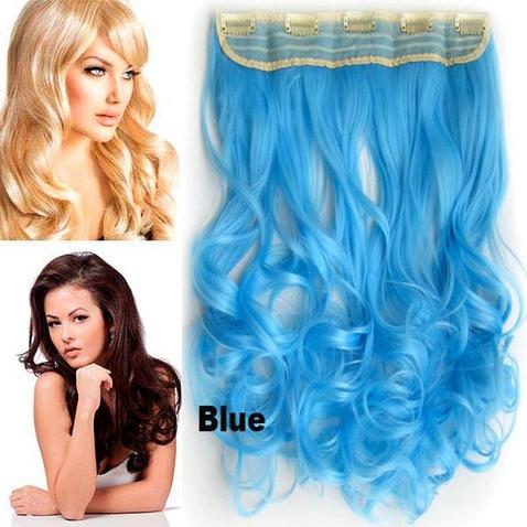 Clip in pás vlasov - lokne 55 cm - modrá