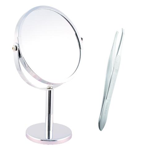 Kozmetické zrkadlo nerezové - 4 x zoom - pinzeta zadarmo