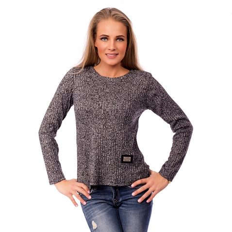 Dámsky šedý úpletový svetrík - Fashion