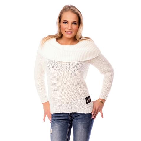 Štýlový dámsky sveter so širokým golierom - krémovo biely