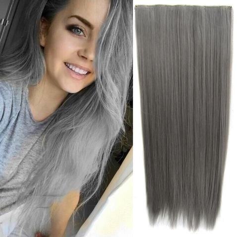 Clip in vlasy - 60 cm dlhý pás vlasov - odtieň Dim Grey
