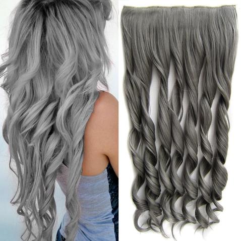 Clip in pás vlasov - lokne 55 cm - odtieň Dim Grey