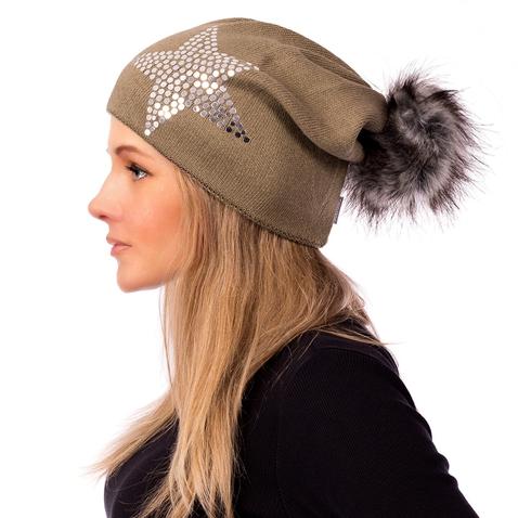 Dámska čiapka s brmbolcom Silver star - zelená