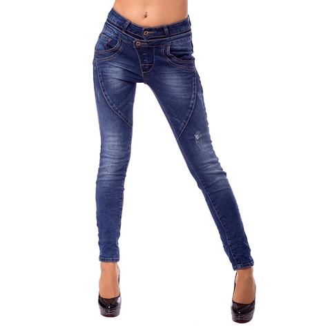 Dámske slim džínsy s dvojitým pásom