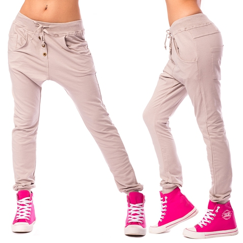 Dámske háremové nohavice - béžové