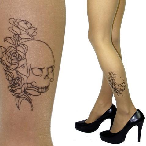 Pančuchy s tetovaním na lýtku - motív lebky