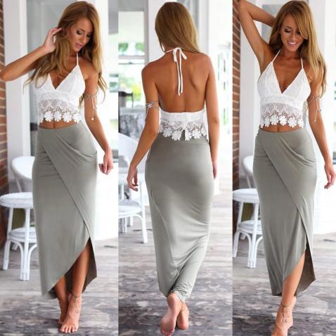 Dámska prekladaná sukňa - šedá