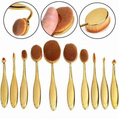 Sada oválnych kozmetických štetcov Gold - 10 kusov