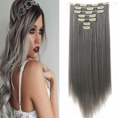 Clip in sada EXCLUSIVE - 63 cm - odtieň Dim Gray