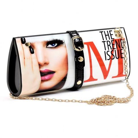 Kabelka - listová kabelka - dizajn módneho časopisu - biela Elle