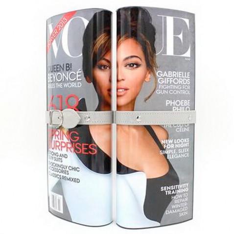 Listová kabelka - dizajn módneho časopisu - sivá Vogue